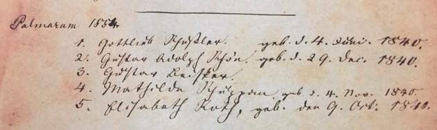 Gustav Schoen 1854 confirmation record Concordia Frohna MO