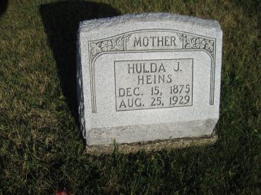 Hulda Heins gravestone St. Paul's Wittenberg MO