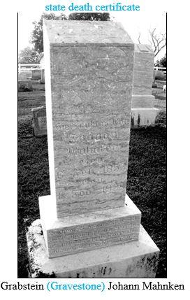 Johann Mahnken gravestone Salem Farrar MO Hartmut