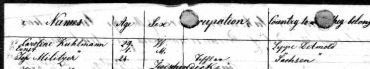 Johann Militzer Anna Delius passenger list 1854