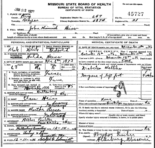 John Heins death certificate