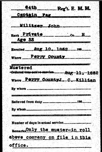 John Militzer Civil War record
