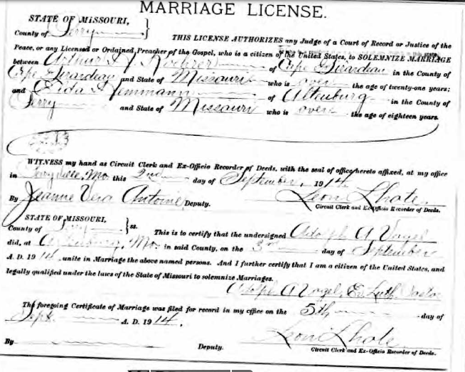 Koehrer Hemmann marriage license
