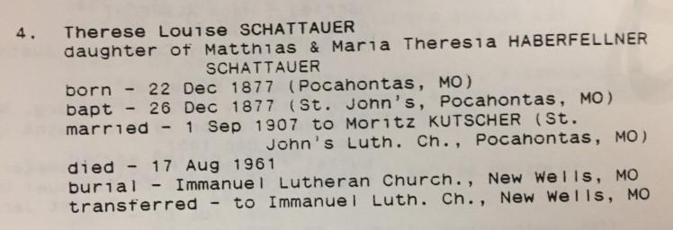 Louis Schattauer information St. John's Pocahontas MO