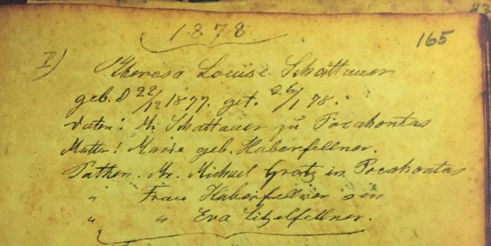 Louise Schattauer baptism record Immanuel Altenburg MO