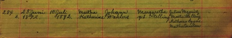 Martha Wahlers baptism record Salem Farrar MO