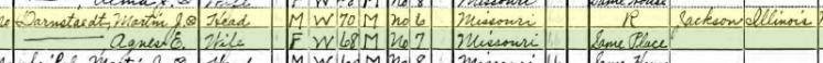 Martin Darnstaedt 1940 census Brazeau Township MO