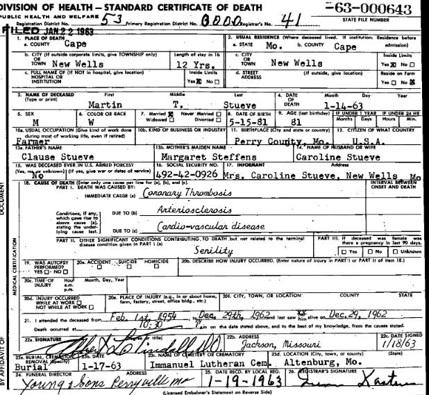 Martin Stueve death certificate