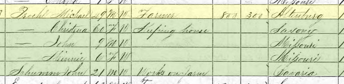 Michael Proehl 1870 census Brazeau Township MO