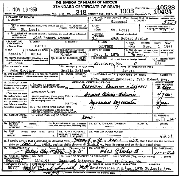 Sarah Grother death certificate
