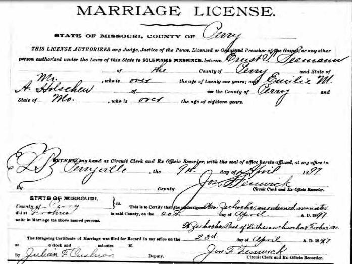 Seemann Holschen marriage license