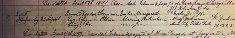 Seemann Holschen marriage record Concordia Frohna MO