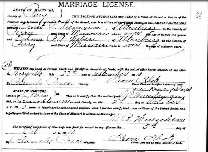 Seemann Weber marriage license