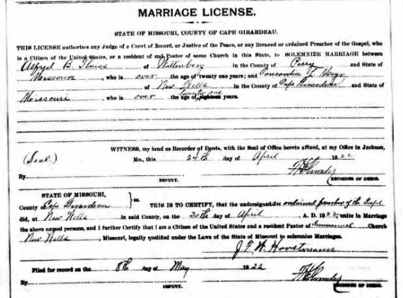 Theiss Meyr marriage license