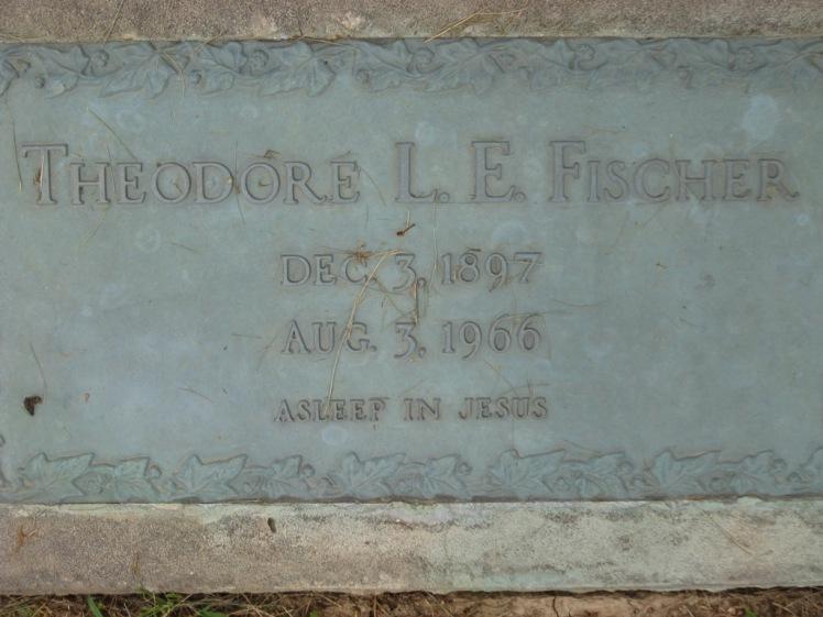 Theodore E L Fischer gravestone Concordia Frohna MO