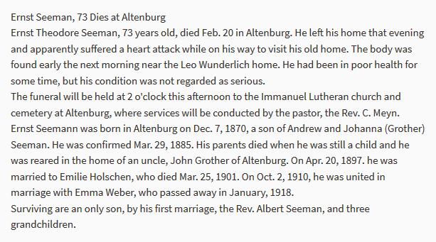 Theodore Seemann obituary