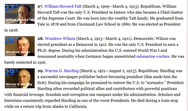 US Presidents list 1909-1923