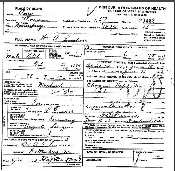 William Lueders death certificate