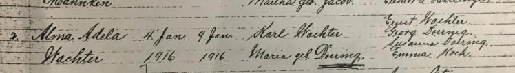 Alma Wachter baptism record Trinity Altenburg MO