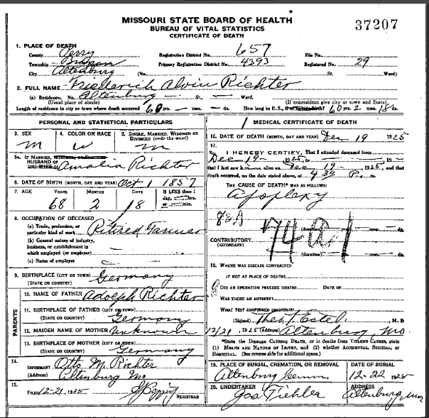 Alvin Richter death certificate