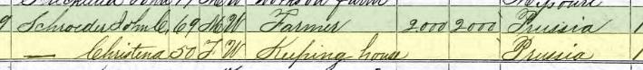 Alwine Schroeder 1870 census 1 Brazeau Township MO