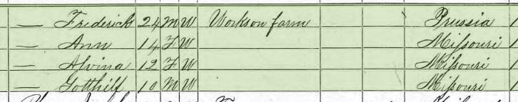Alwine Schroeder 1870 census 2 Brazeau Township MO