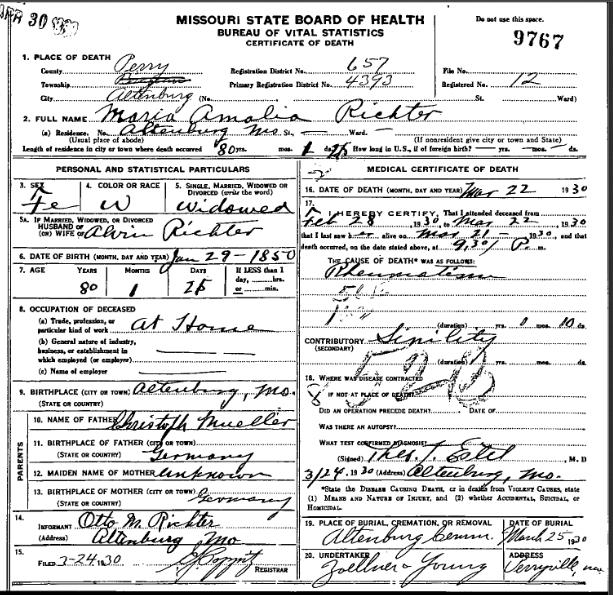 Amalia Richter death certificate