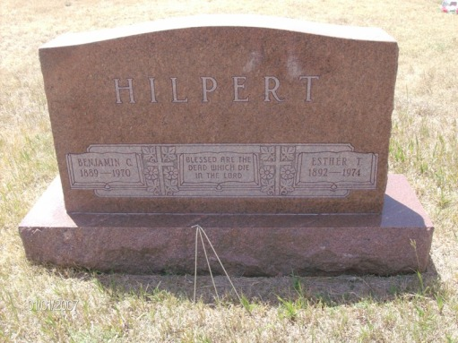 Benjamin and Esther Hilpert gravestone St. Paul's Gurley NE