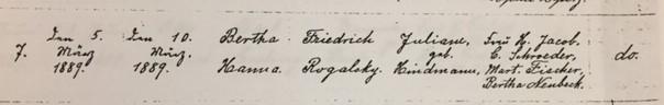 Bertha Rogalski baptism record Trinity Altenburg MO