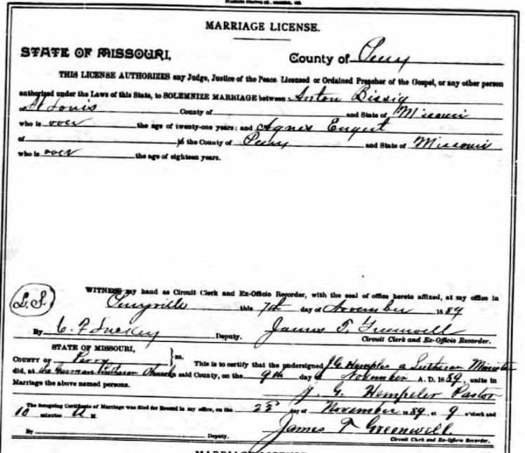 Bissig Engert marriage license