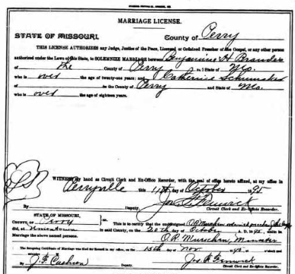Brandes Schumacher marriage license