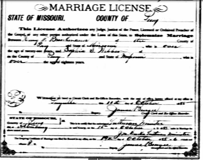 Brinkmann Weber marriage license