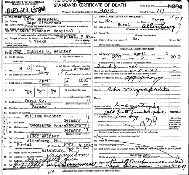 Carl Wachter death certificate