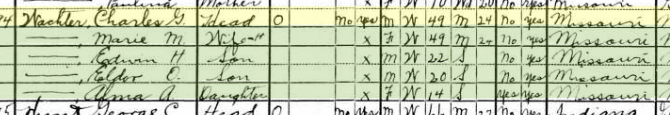 Charles Wachter 1930 census Brazeau Township MO