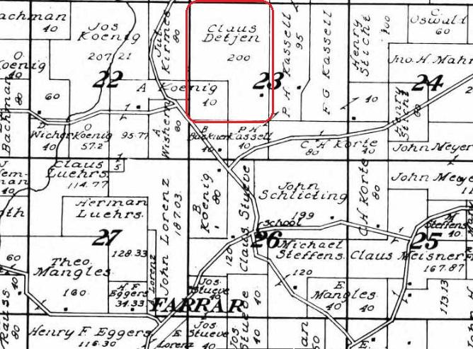 Claus Detjen land map 1915