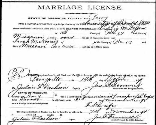 Detjen Koenig marriage license
