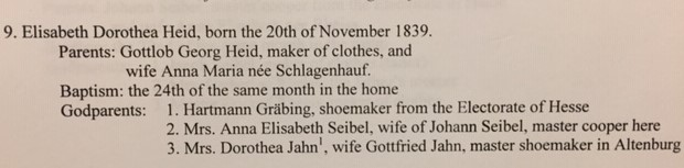 Elizabeth Dorothea Heid baptism record translation Trinity Altenburg MO
