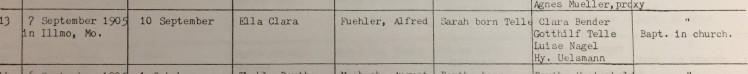 Ella Fuehler baptism record Eisleben Scott City MO