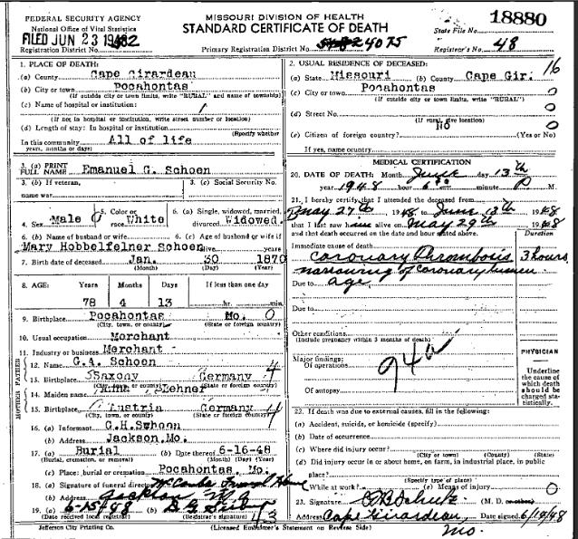 Emanuel Schoen death certificate