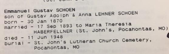 Emanuel Schoen info St. John's Pocahontas MO
