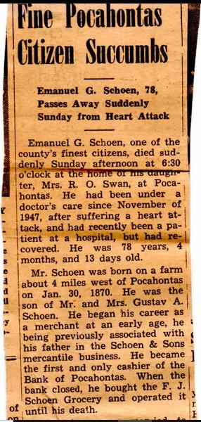 Emanuel Schoen obituary 1