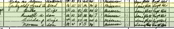 Frederick Petzoldt 1940 census Shawnee Township MO
