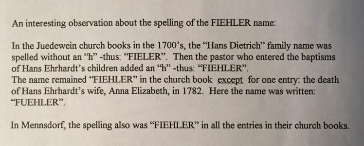 Fuehler family spelling note Fiehler book