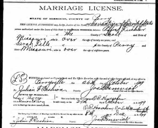 Fuehler Telle marriage license