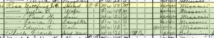 Gottfried Ross 1920 census Fountain Bluff Township, IL