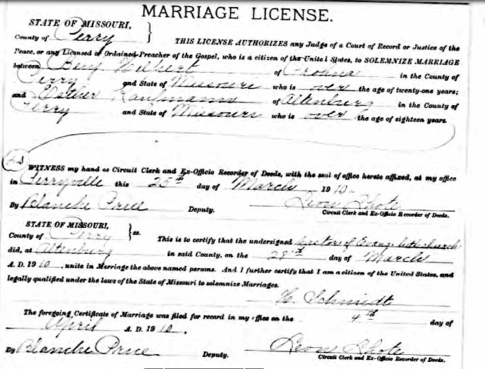Hilpert Kaufmann marriage license
