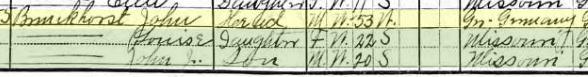 John Brunkhorst 1910 census 1 Brazeau Township MO