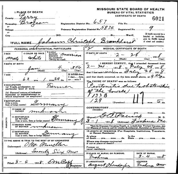 John Brunkhorst death certificate
