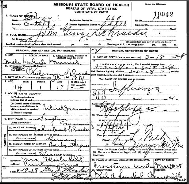 John George Schroeder death certificate