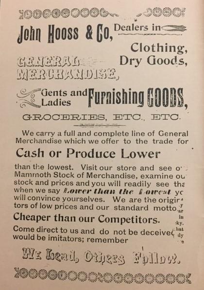 John Hooss ad Eden publication 1895